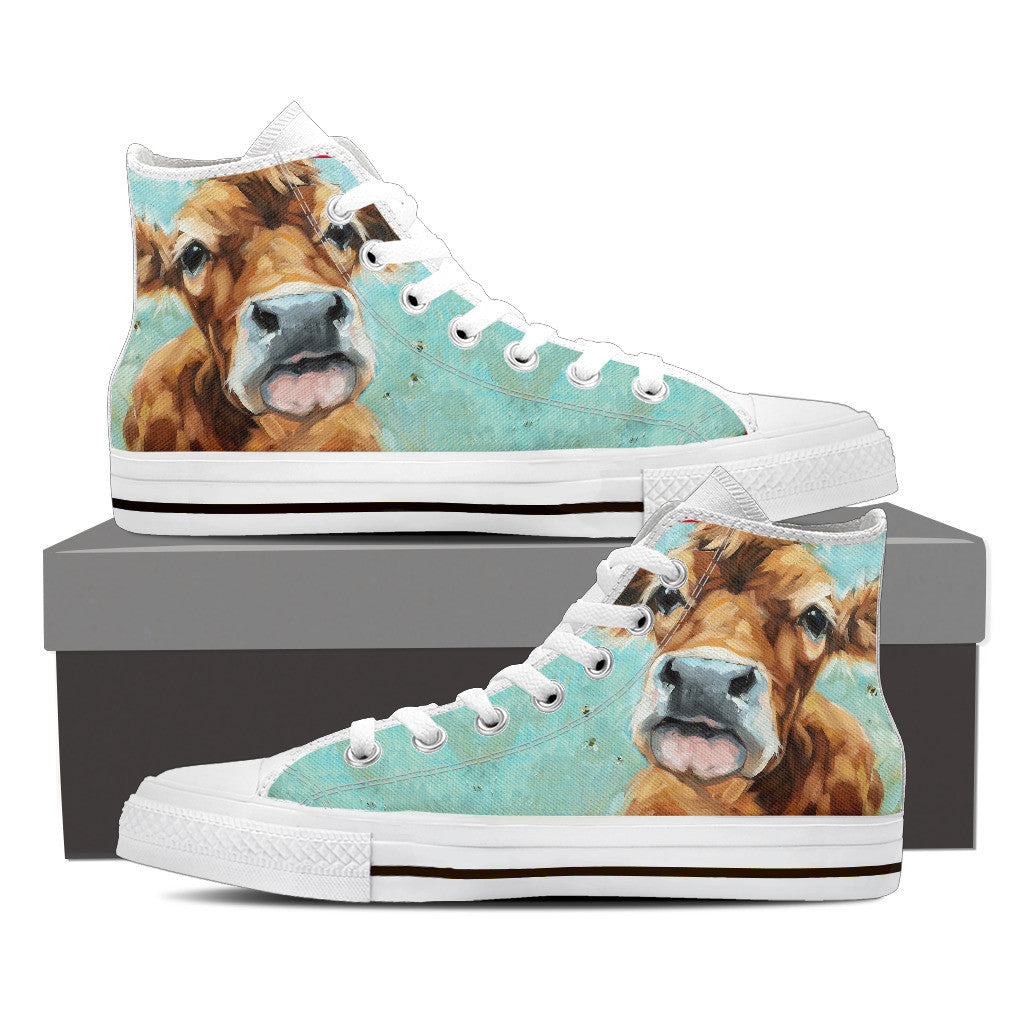 Cow painting HIGH TOP SHOES
