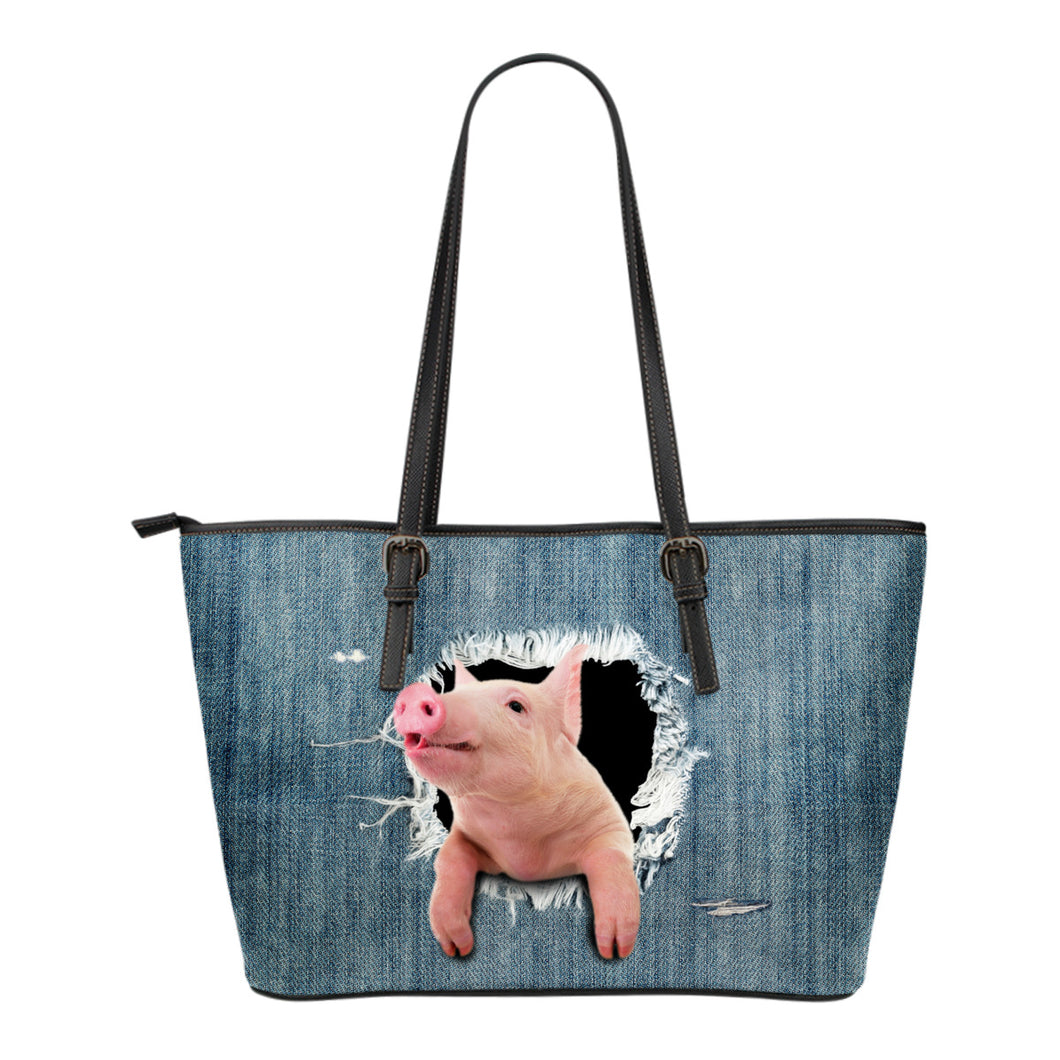 3d pig - jean - Leather Tote