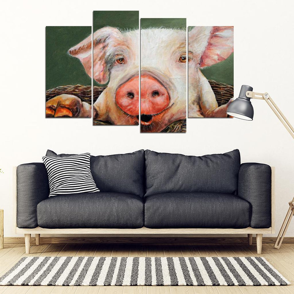 Poster Canvas Printed Framework 4 Panel  Pig Wall Artwork (USA only)