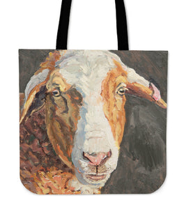goat painting color brown - tote bag