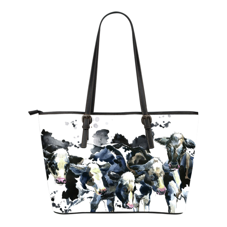 watercolor - cows - Small Leather Tote