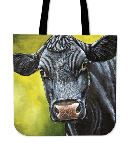 Tote Bag - black cow painting style sk03