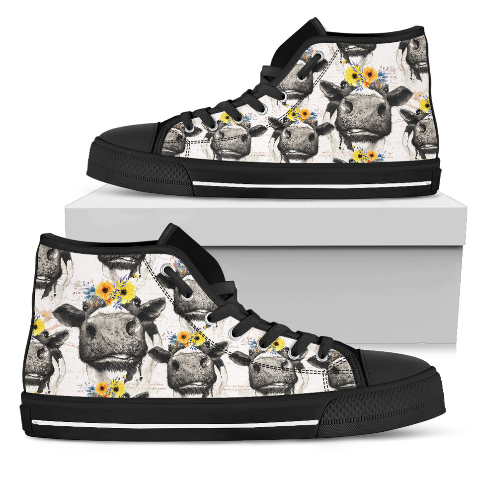High Top Canvas Shoe - Cow with flowers for Men & Women