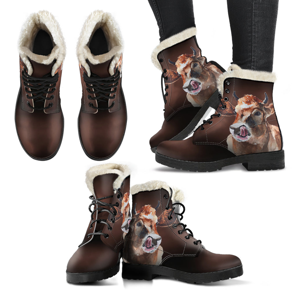 Faux Fur Leather Boots for Cow Lovers - sk03
