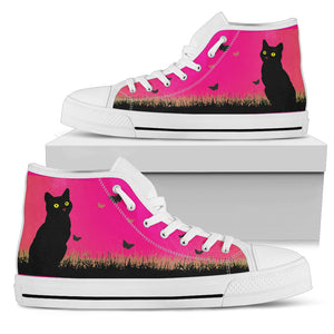 Cat Design Women High Top Shoes