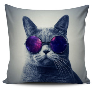 Cat wears a pair of glasses - Pillow Cover