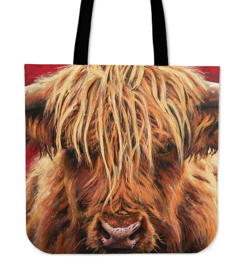 Highland cow painting-p2-tote bag