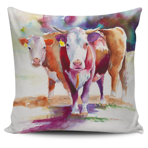 Pillow Cover - cow painting style