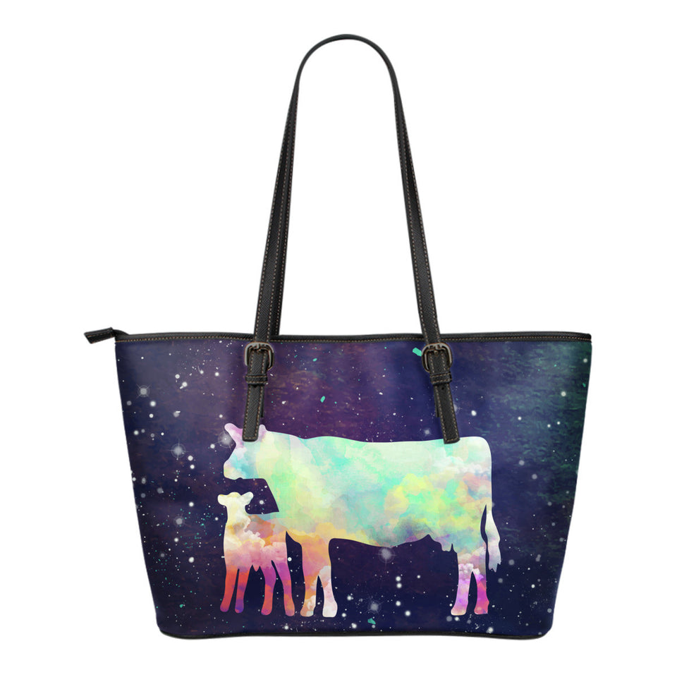 Cow galaxy- Small Leather Tote Bag - Barnsmile.com-Barnsmile.com-shirt, tees, clothings, accessories, shoes, home decor