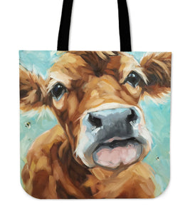 cow painting-pa1 - tote bag - Barnsmile.com-Barnsmile.com-shirt, tees, clothings, accessories, shoes, home decor