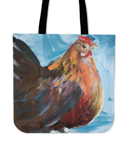 chicken painting-04-tote bag