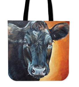 Tote Bag - black cow painting style sk01