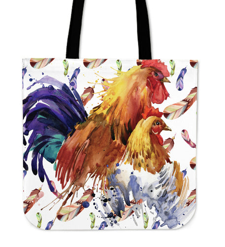 chicken painting color - tote bag