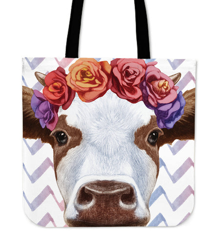 Cow and Flowers - tote bags - Barnsmile.com-Barnsmile.com-shirt, tees, clothings, accessories, shoes, home decor