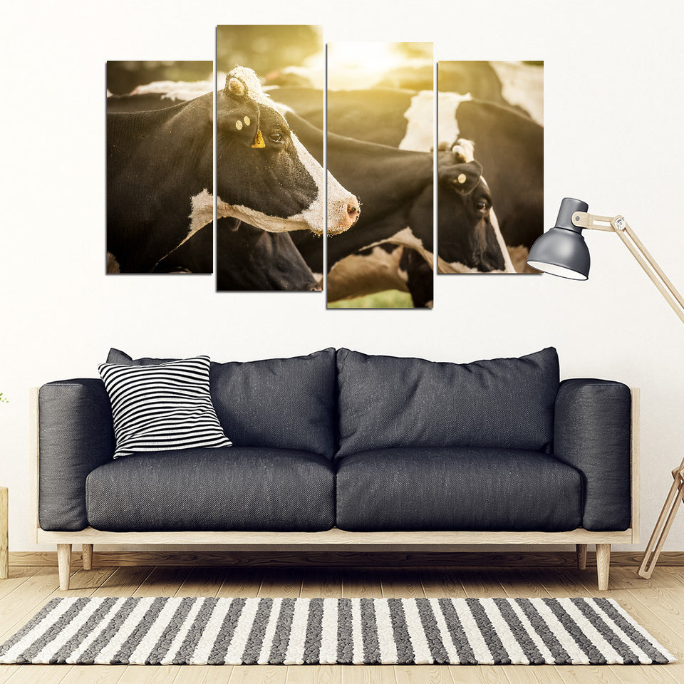 Sunset cow-wall art canvas print with wooden frame