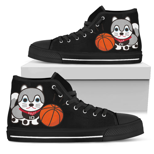 Cat Men's High Top Canvas Shoes