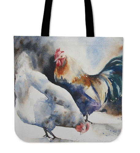 chicken painting-08-tote bag