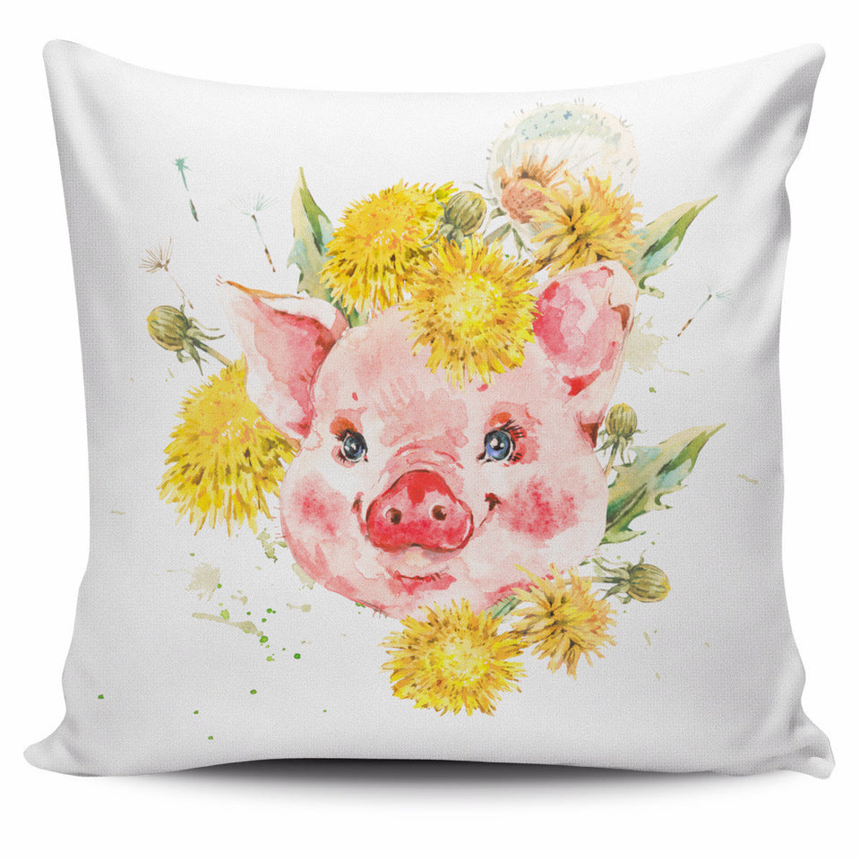love pig flower painting style - pillow cover