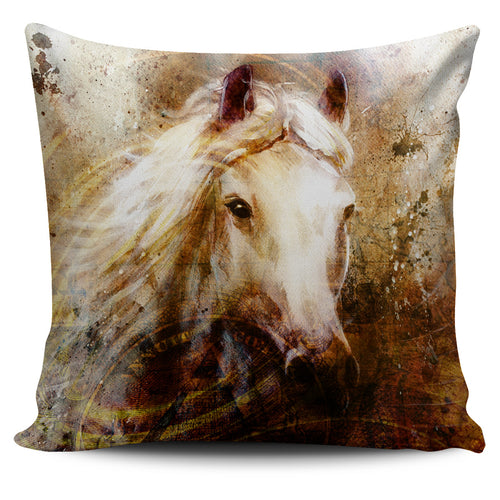 White Horse Running Pillow Cover