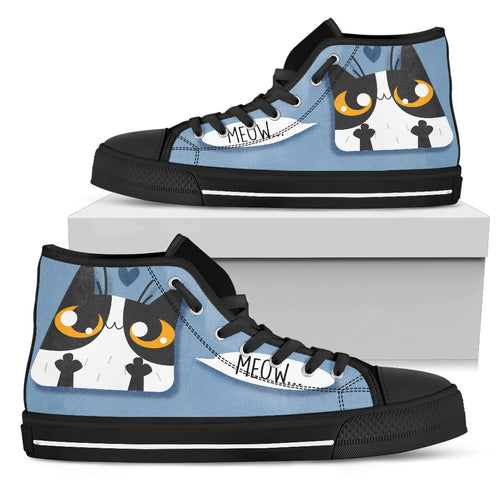 High Top canvas shoes Meow.. CAt