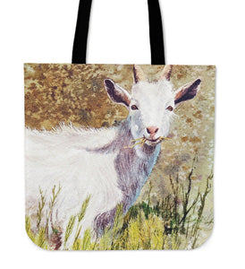 goat painting grass- tote bag