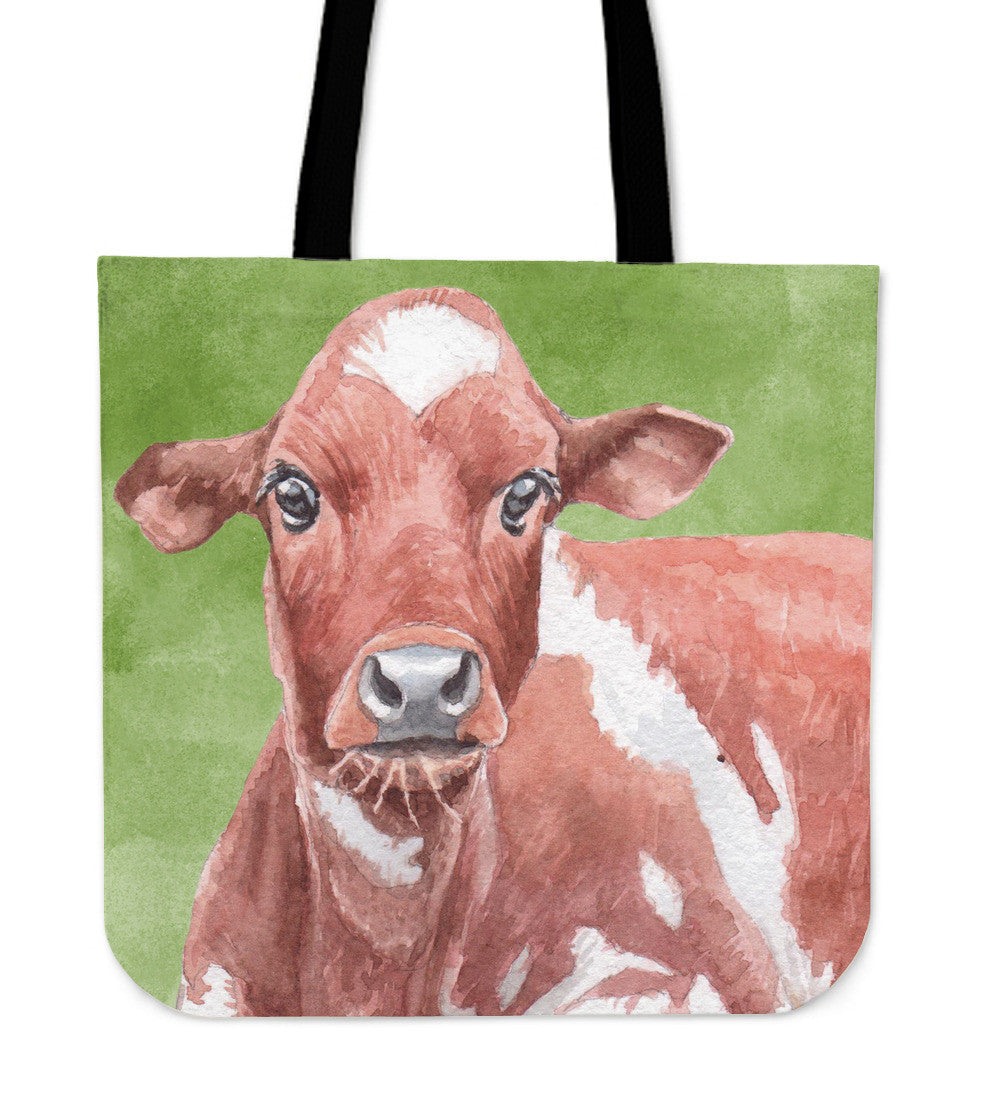 cow on grass painting-p1 - tote bag