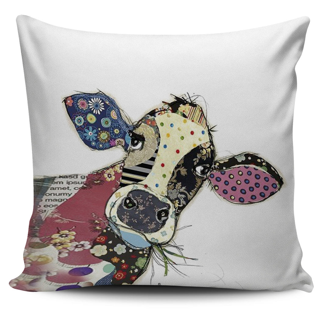 Cow head color pillow cover