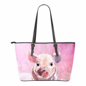 Pig pink - Small Leather Tote Bag - Barnsmile.com-Barnsmile.com-shirt, tees, clothings, accessories, shoes, home decor
