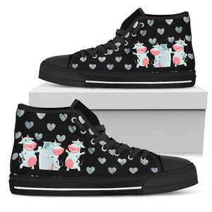 High Top Canvas Shoe - Cow 03 for Men & Women