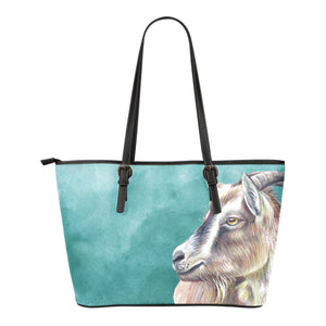 goat painting - p2 - Small Leather Tote