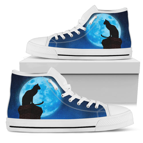 Cat Moon Women High Top Shoes