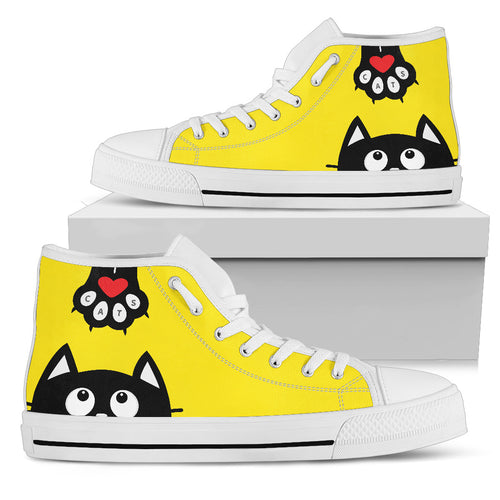 Yellow Cat Art Women High Top Shoes