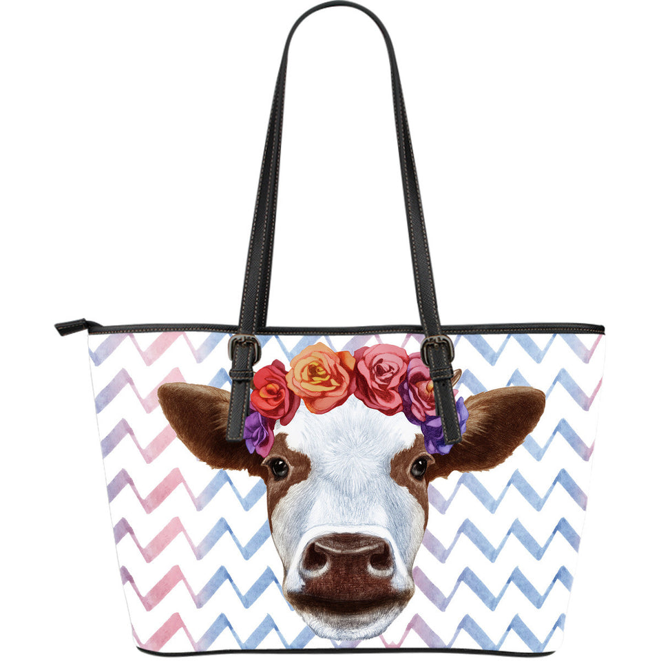 Flower cow - Large Leather Tote Bag