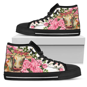 High Top Canvas Shoe - Women's & Men's Cow with roses