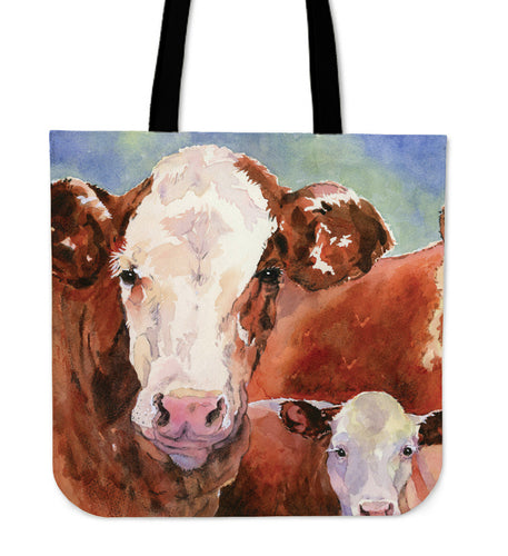 Cow mom and baby painting-p3 - tote bag - Barnsmile.com-Barnsmile.com-shirt, tees, clothings, accessories, shoes, home decor