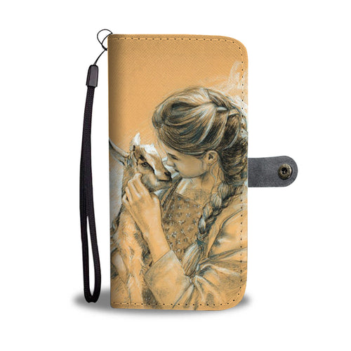 Girl-carries-goat wallet case phone