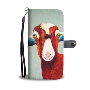 Goat-red-face wallet case phone