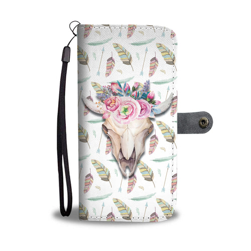 Wallet case phone - skull cow