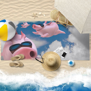 Pig printed-towel-13 Beach Towel 30x60