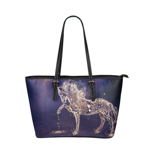 Horse 03 Leather Tote Bag/Small (Model 1651)