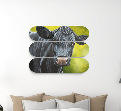 3 Skateboard Wall Art - cow sk09