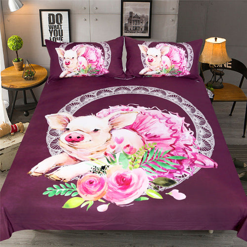 Pig Bedding Set Cute With Dress Duvet Cover Set and two pillowcases