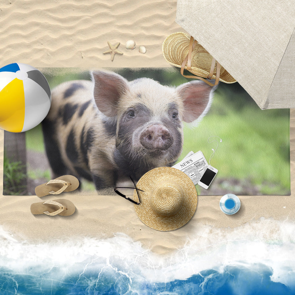 Pig printed-towel-01 Beach Towel 30x60