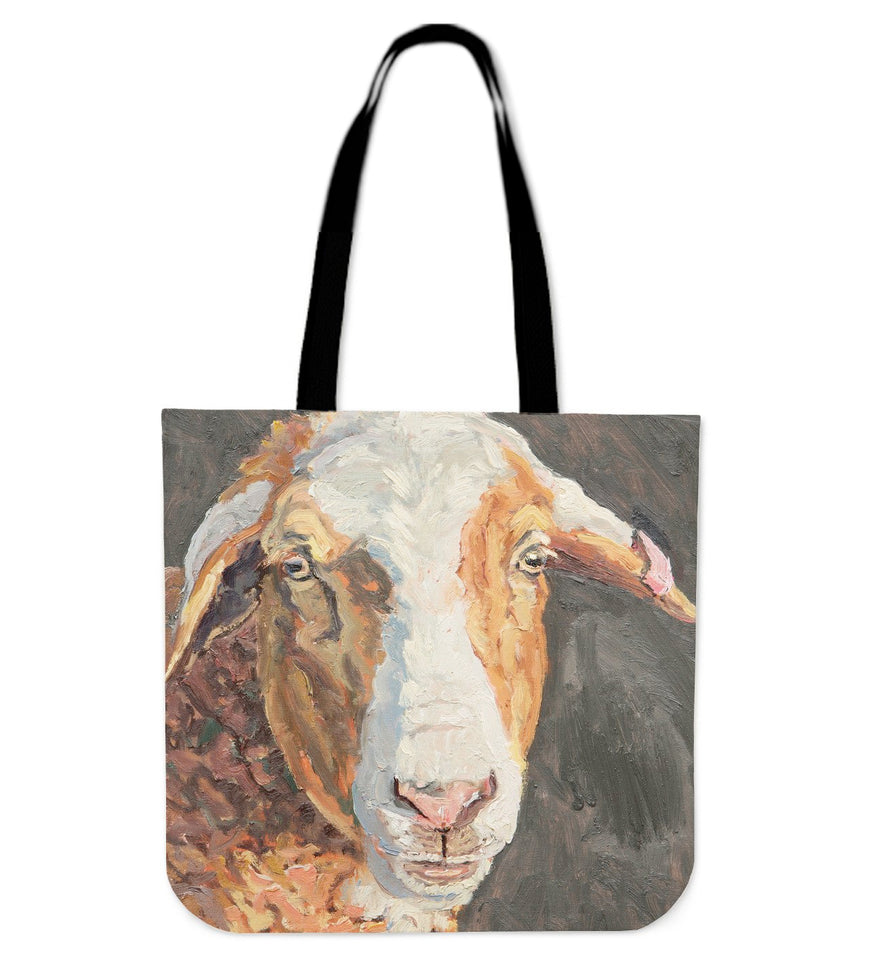 goat painting color brown - tote bag - Barnsmile.com-Barnsmile.com-shirt, tees, clothings, accessories, shoes, home decor