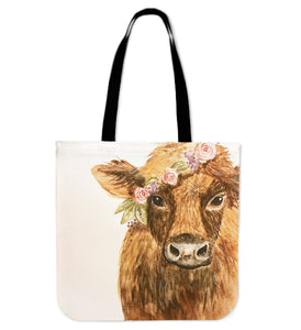 Highland cow painting-p4-tote bag