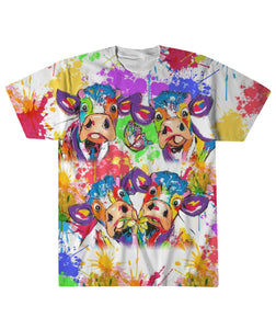Colorful Cow Sublimation Tee
