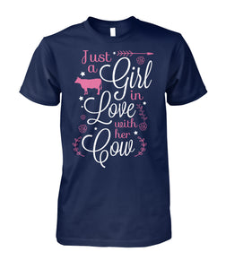 Just a girl in love with her cow - Barnsmile.com-Barnsmile.com-shirt, tees, clothings, accessories, shoes, home decor
