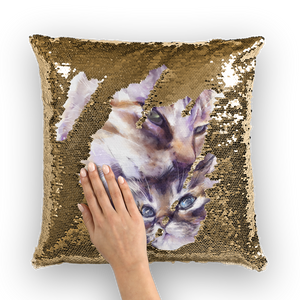 cat painting 04 Sequin Cushion Cover