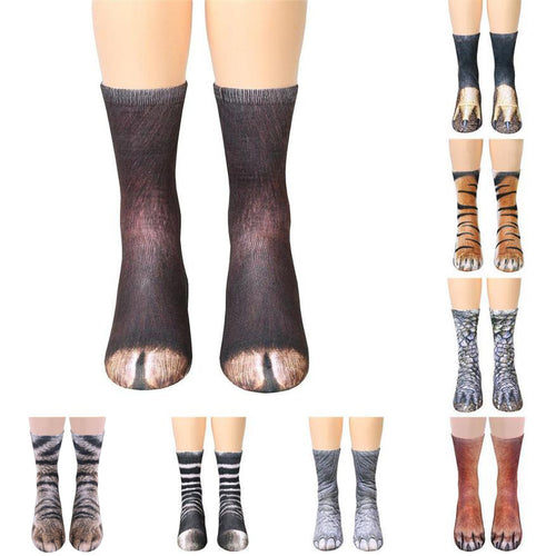 Animal Paw Crew Socks Sublimated Print Men & Women