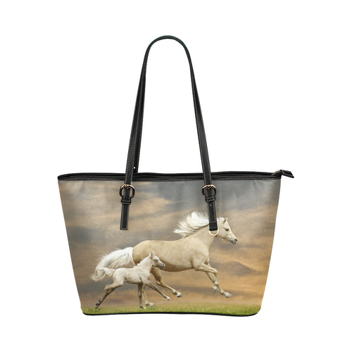 Horse 06 Leather Tote Bag/Small (Model 1651)
